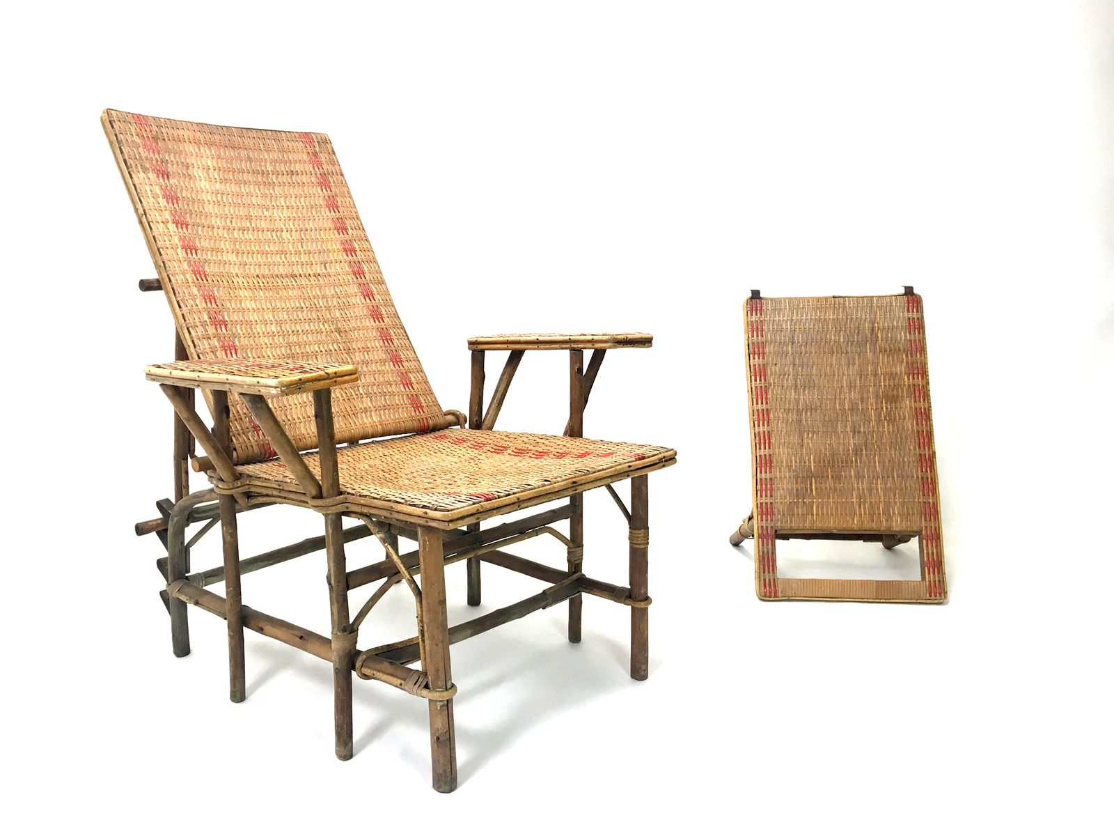 Chaiselongue rattan  French Wicker And Bamboo Chaise Longue with Footrest, 1920s for ...