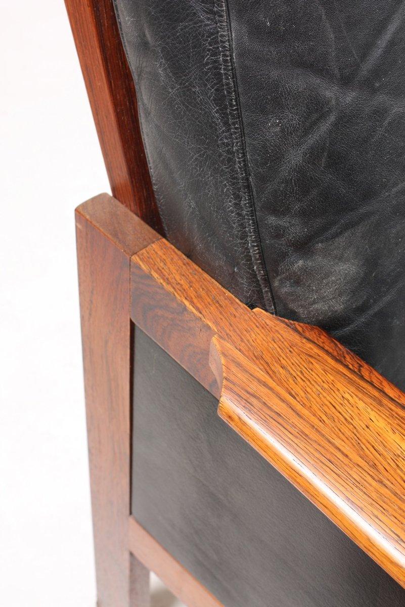 schwarzes palisander ledersofa von illum wikkelso f r n. Black Bedroom Furniture Sets. Home Design Ideas