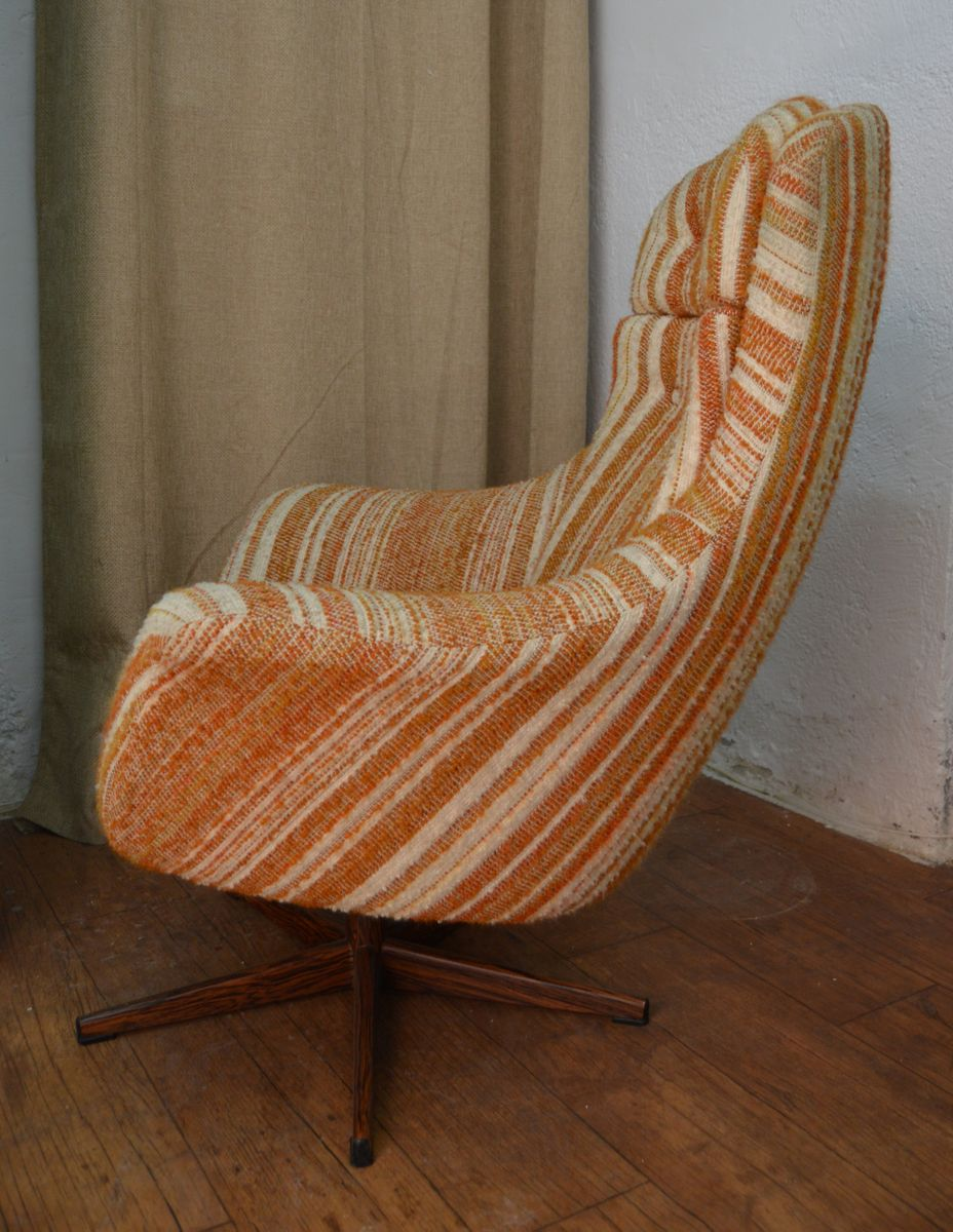 danish striped swivel chair for sale at pamono
