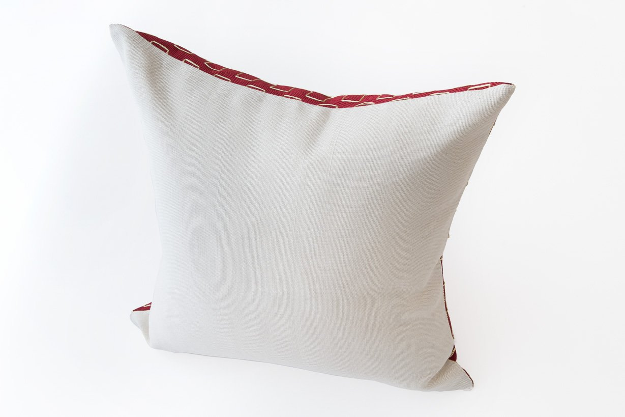 Edo Decorative Pillow in Red and White by Nzuri Textiles, 2015 for sale at Pamono