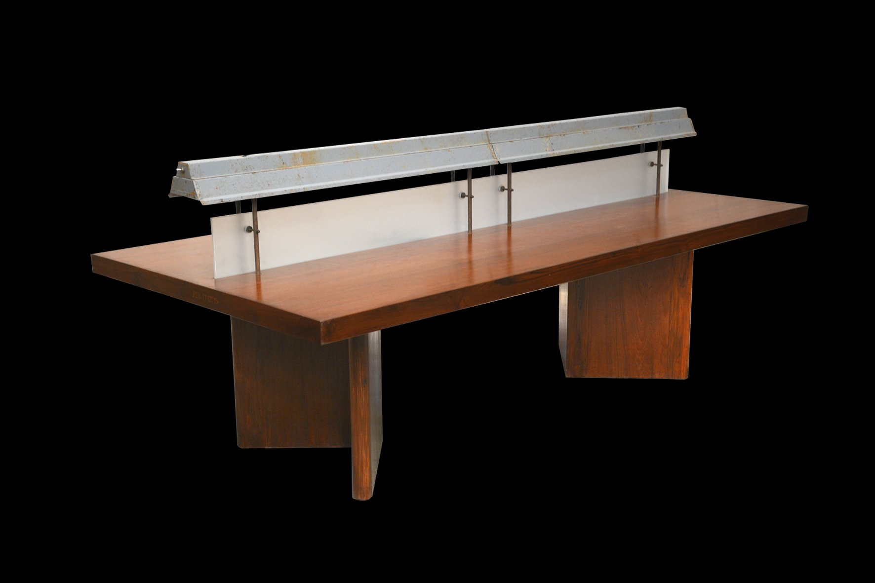 Indian Long Library Reading Table with Light by Pierre Jeanneret