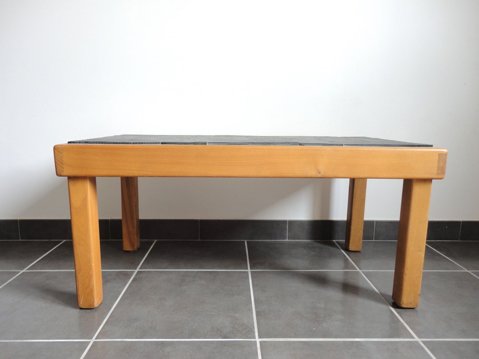 French Elm Slate Coffee Table From Regain 1970s For