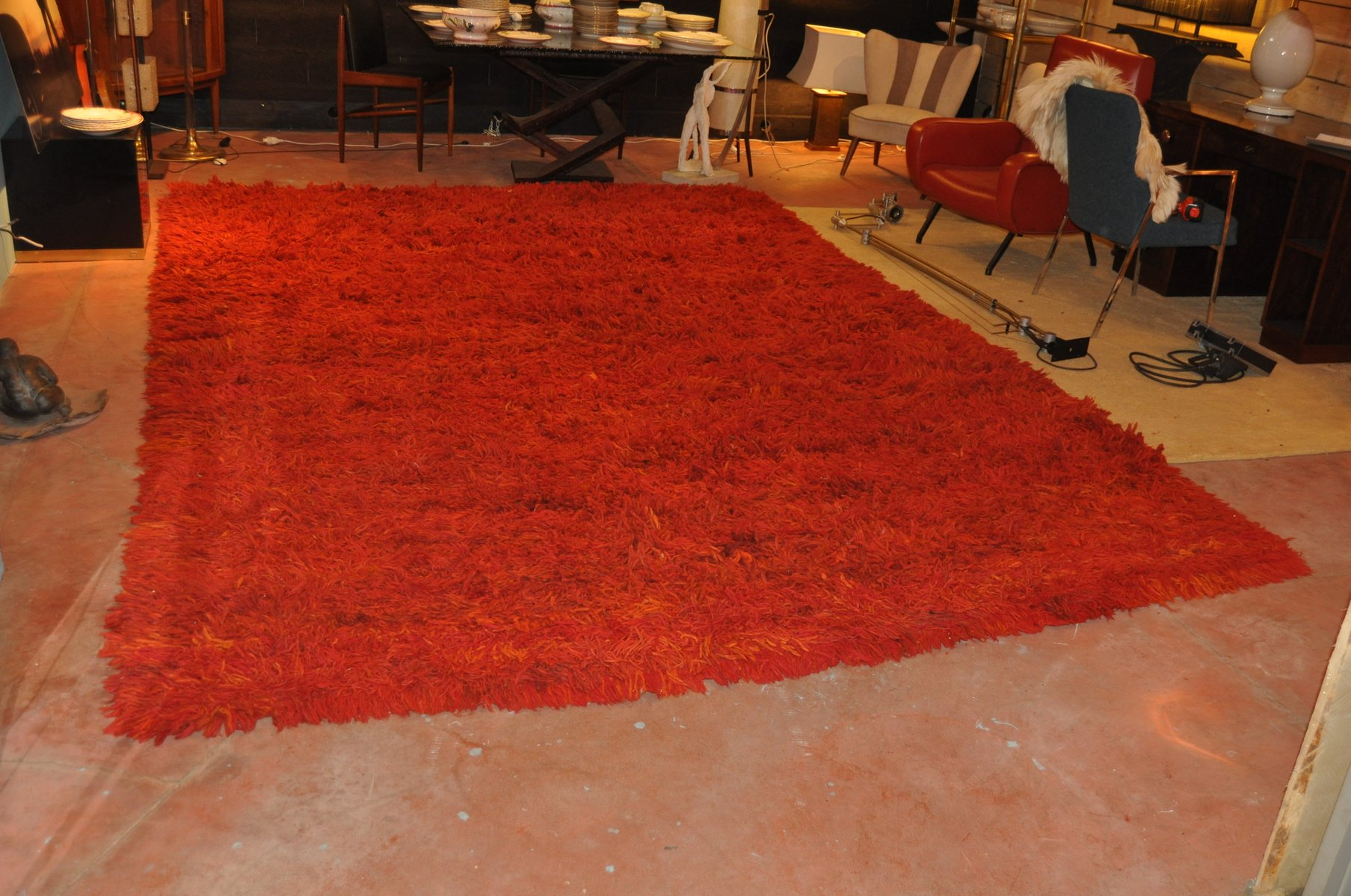 Vintage Teppich in Orange von Tisca bei Pamono kaufen