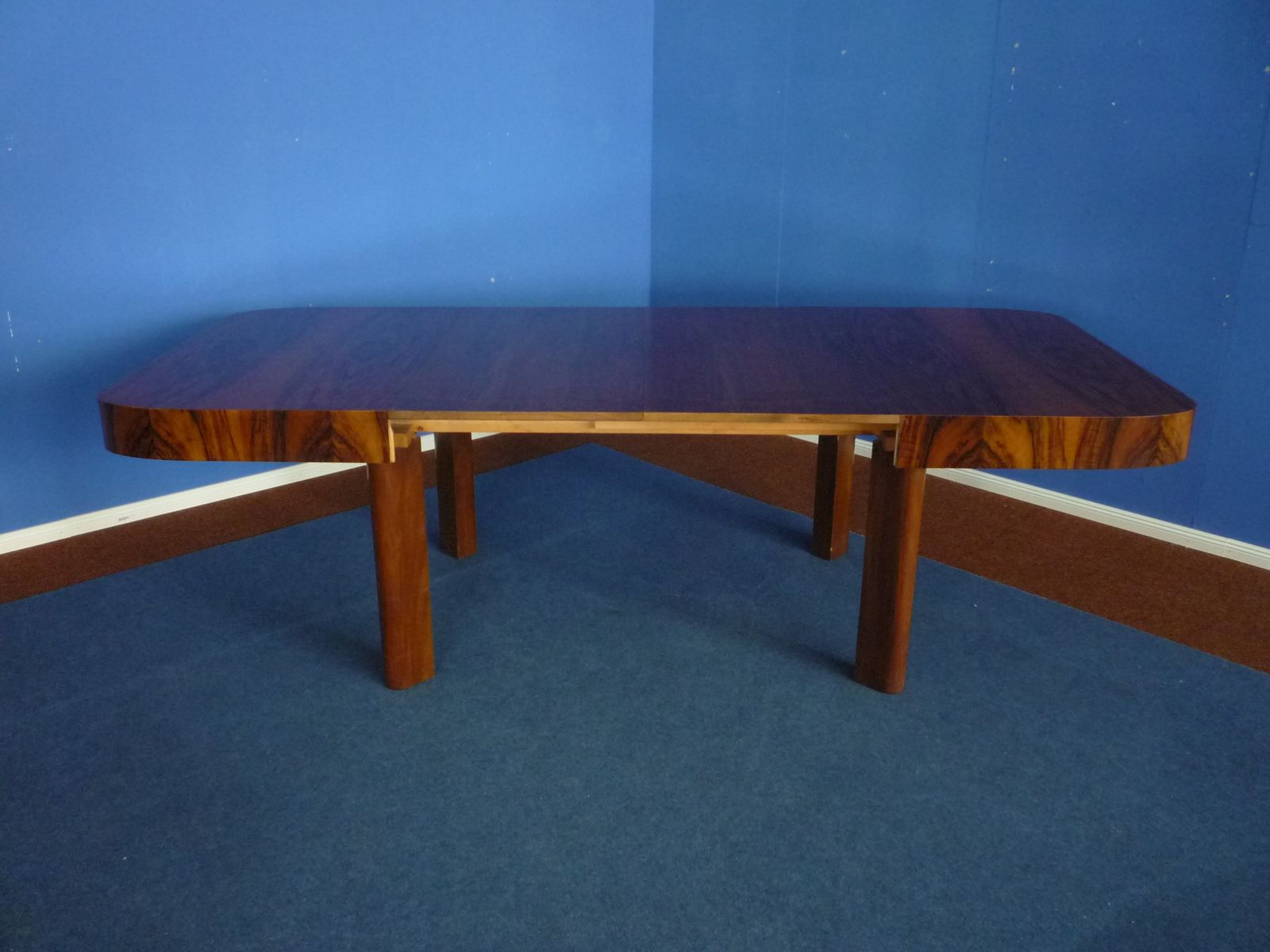 Art Deco Extendable German Walnut Dining Table 1930s for sale at
