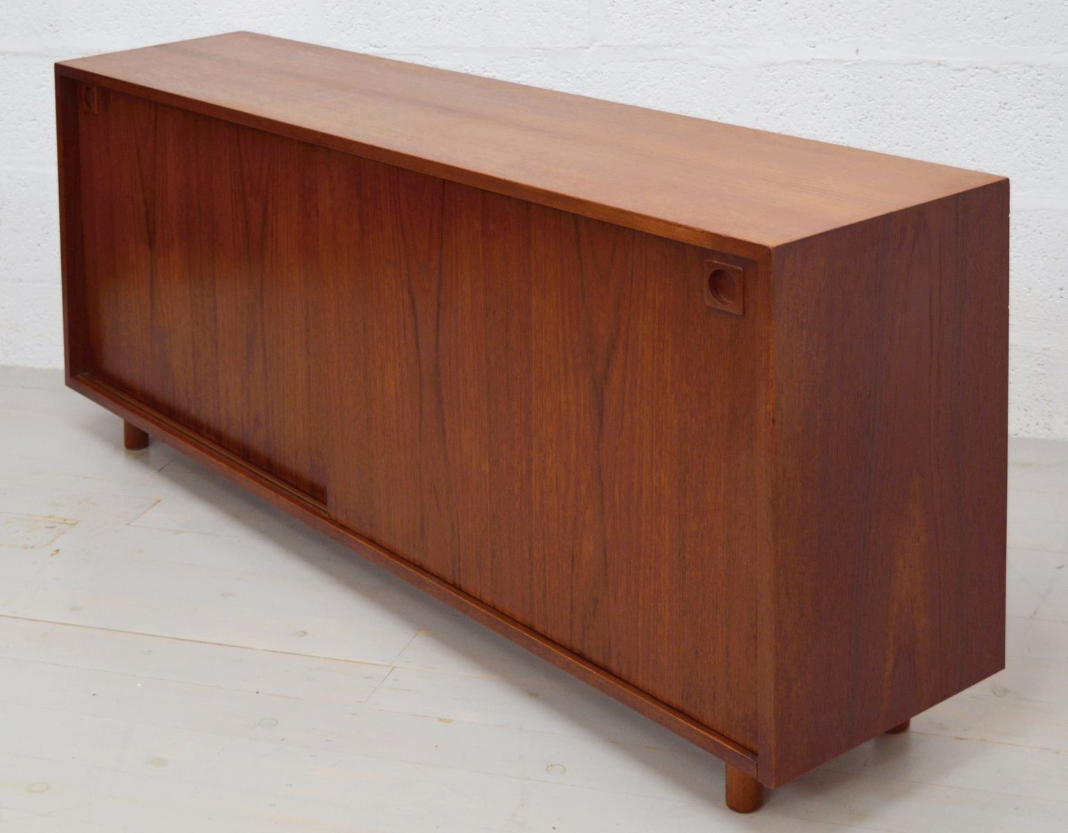 mid century teak danish sideboard with sliding doors for. Black Bedroom Furniture Sets. Home Design Ideas