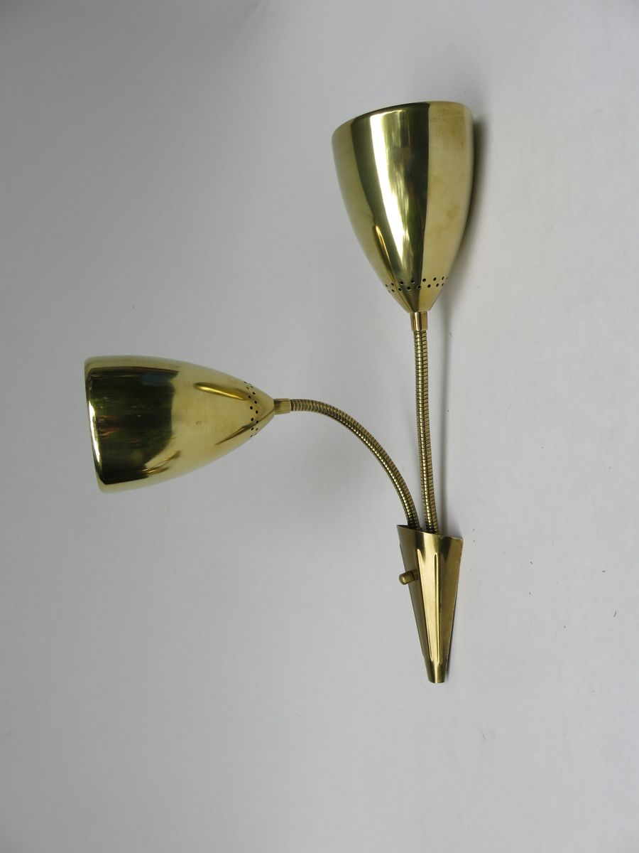 Brass Wall Lights with Flexible Arms, Set of 2 for sale at Pamono