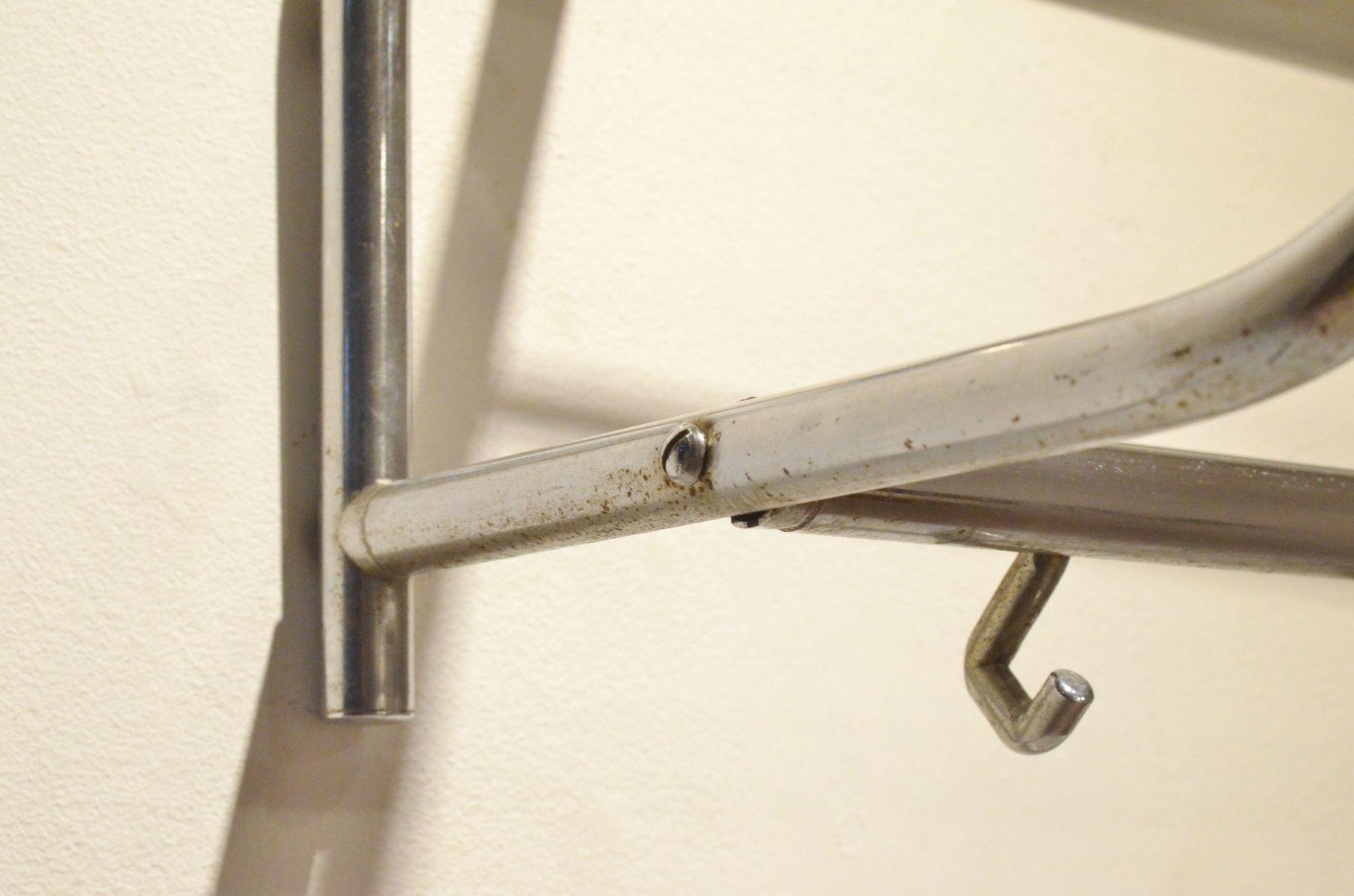 Wall mounted tubular nickel coat hanger mirror 1940s for Mirror hangers