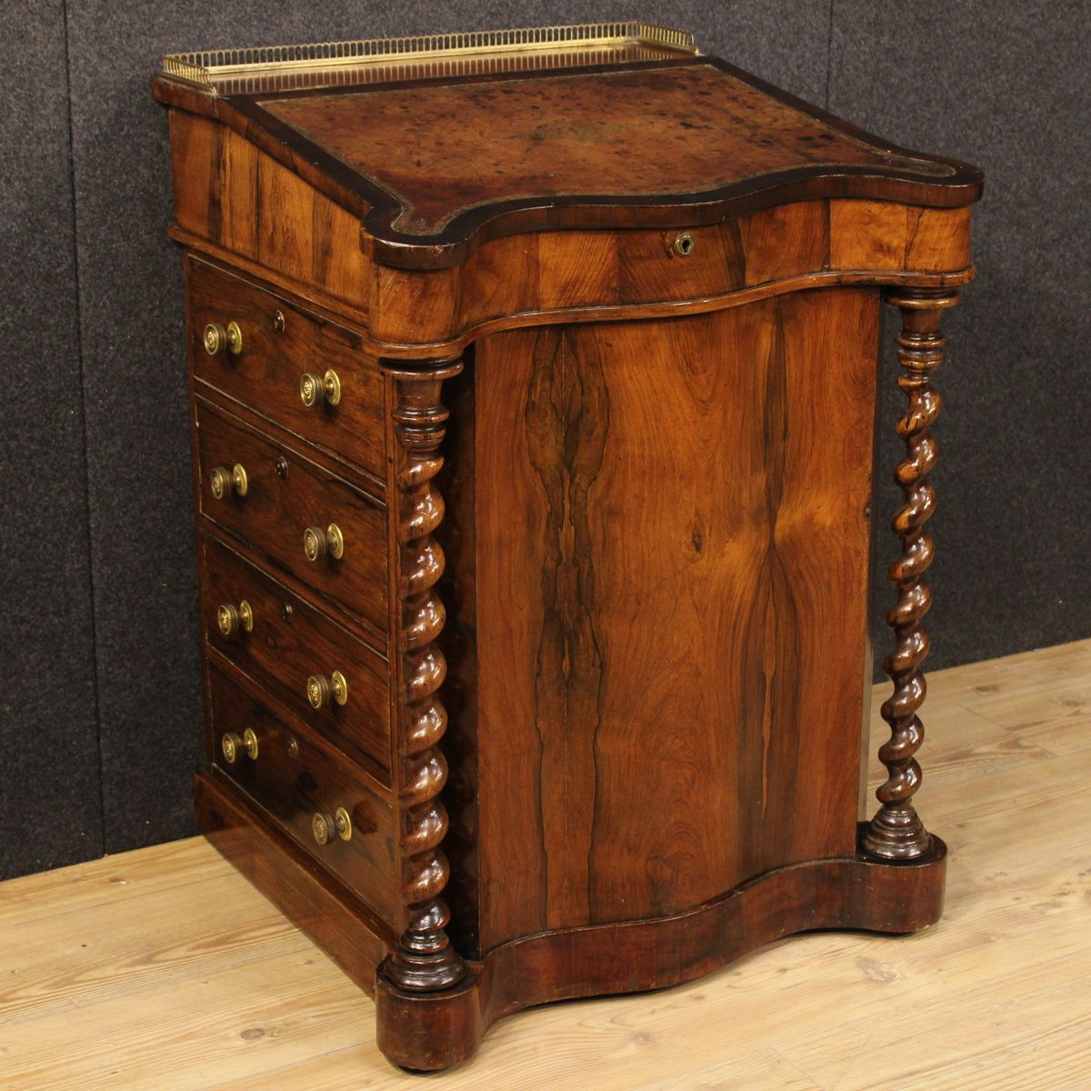 English Palisander and Mahogany Davenport Desk or Secretaire, 1870s - English Palisander And Mahogany Davenport Desk Or Secretaire
