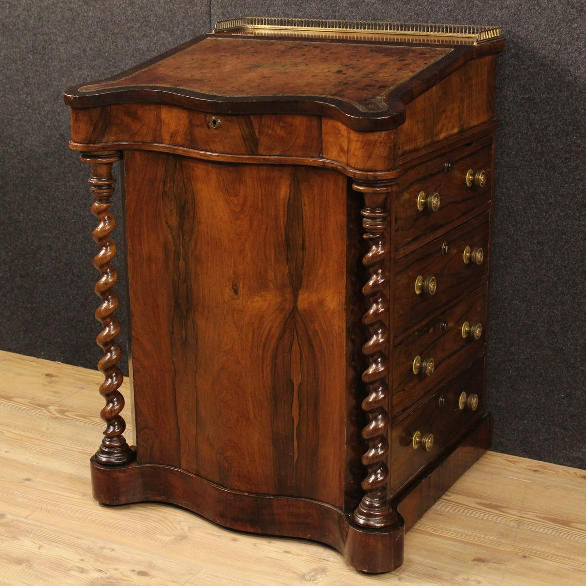 English Palisander and Mahogany Davenport Desk or Secretaire