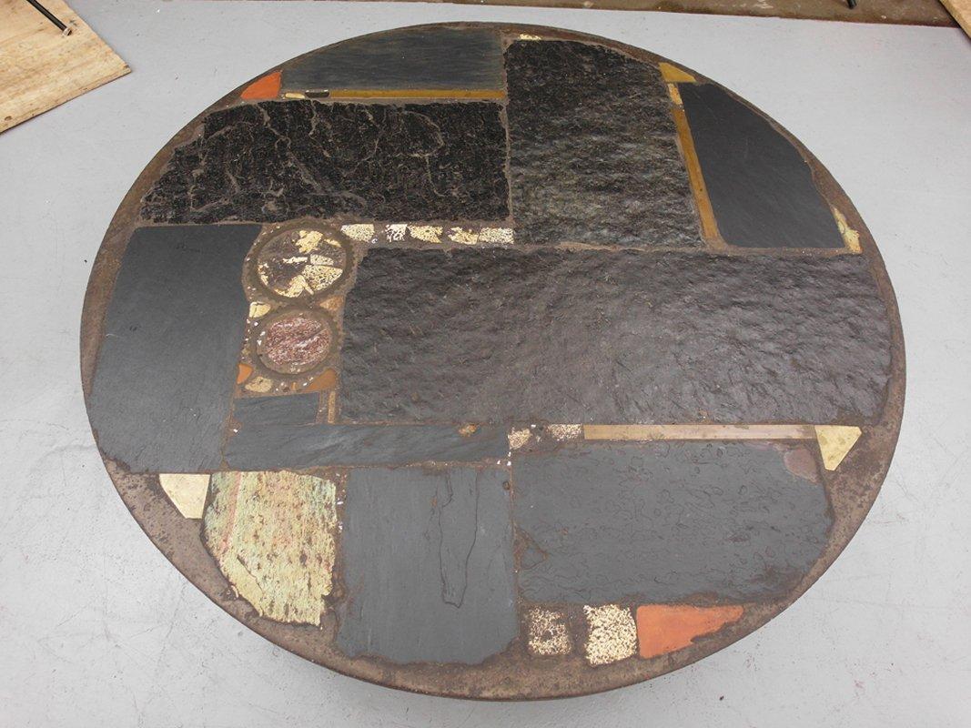 Table basse en céramique et en ardoise avec pied en métal par paul ...