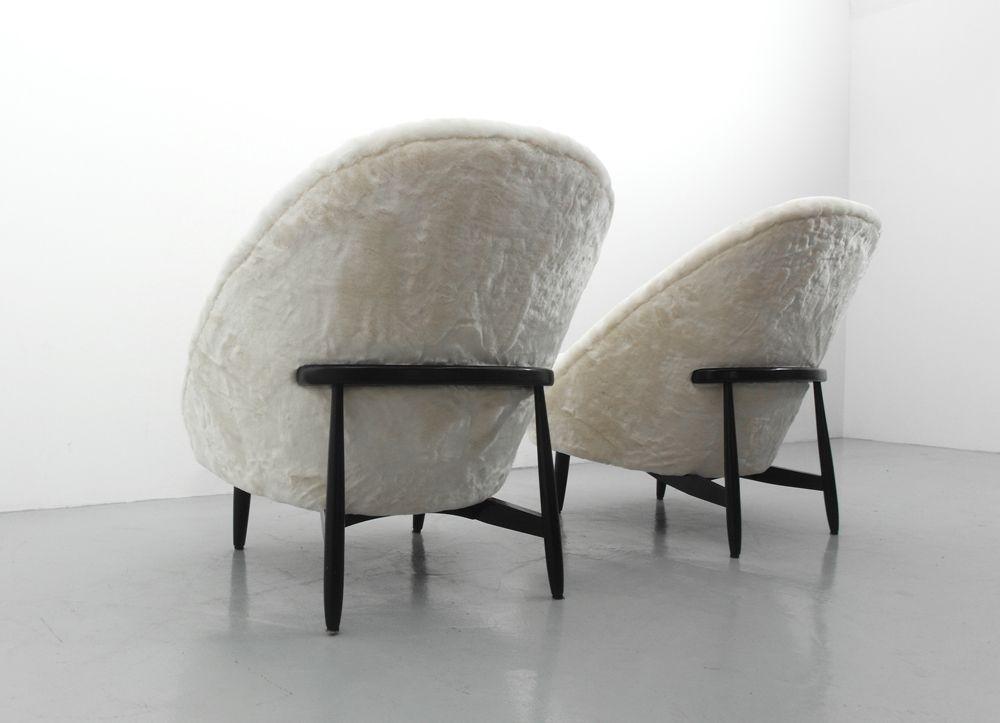 chaise club en fausse fourrure par theo ruth pour artifort pays bas 1958 en vente sur pamono. Black Bedroom Furniture Sets. Home Design Ideas