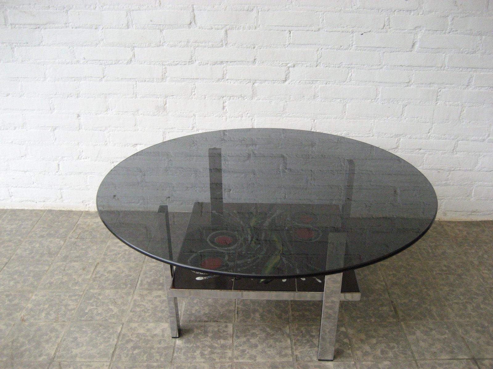 table basse vintage en carrelage et en verre belgique 1960s en