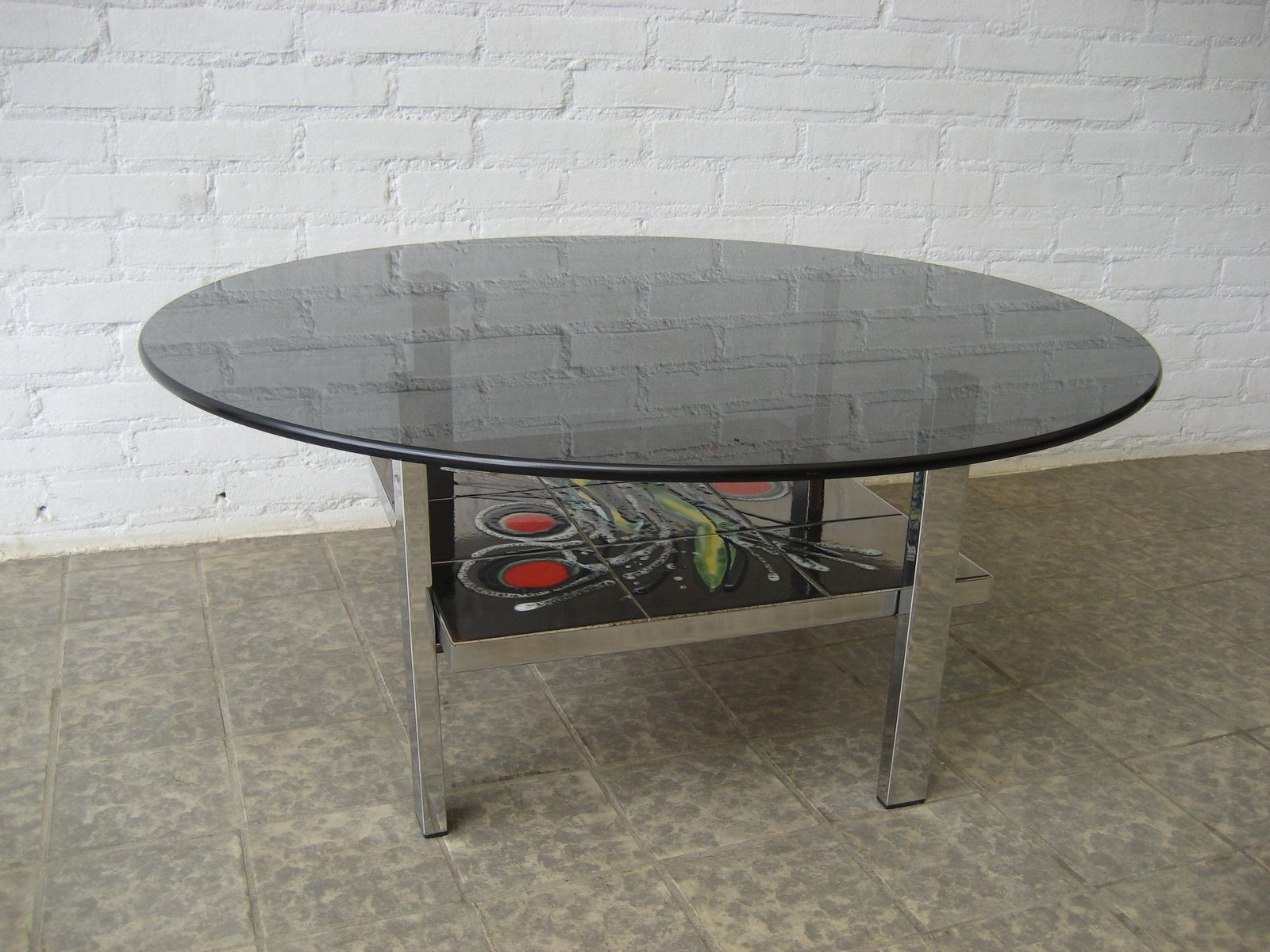 vintage belgian tile and glass coffee table 1960s for. Black Bedroom Furniture Sets. Home Design Ideas