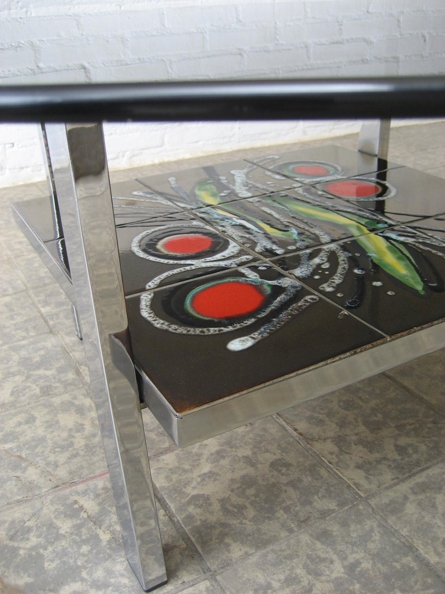 Vintage belgian tile and glass coffee table 1960s for for Carrelage design geneve