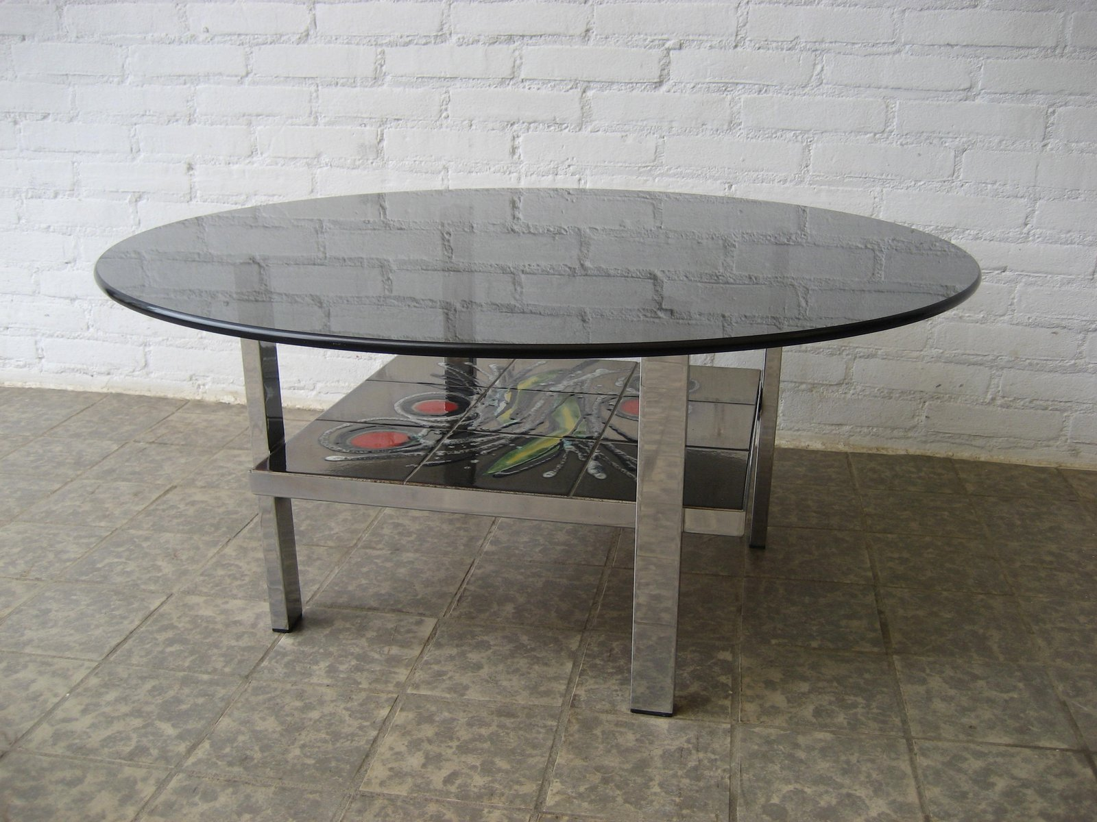 Vintage Belgian Tile and Glass Coffee Table 1960s for sale at Pamono