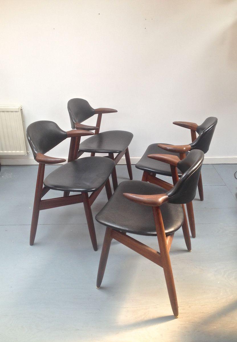 armlehnst hle aus holz leder von tijsseling nijkerk 4er. Black Bedroom Furniture Sets. Home Design Ideas