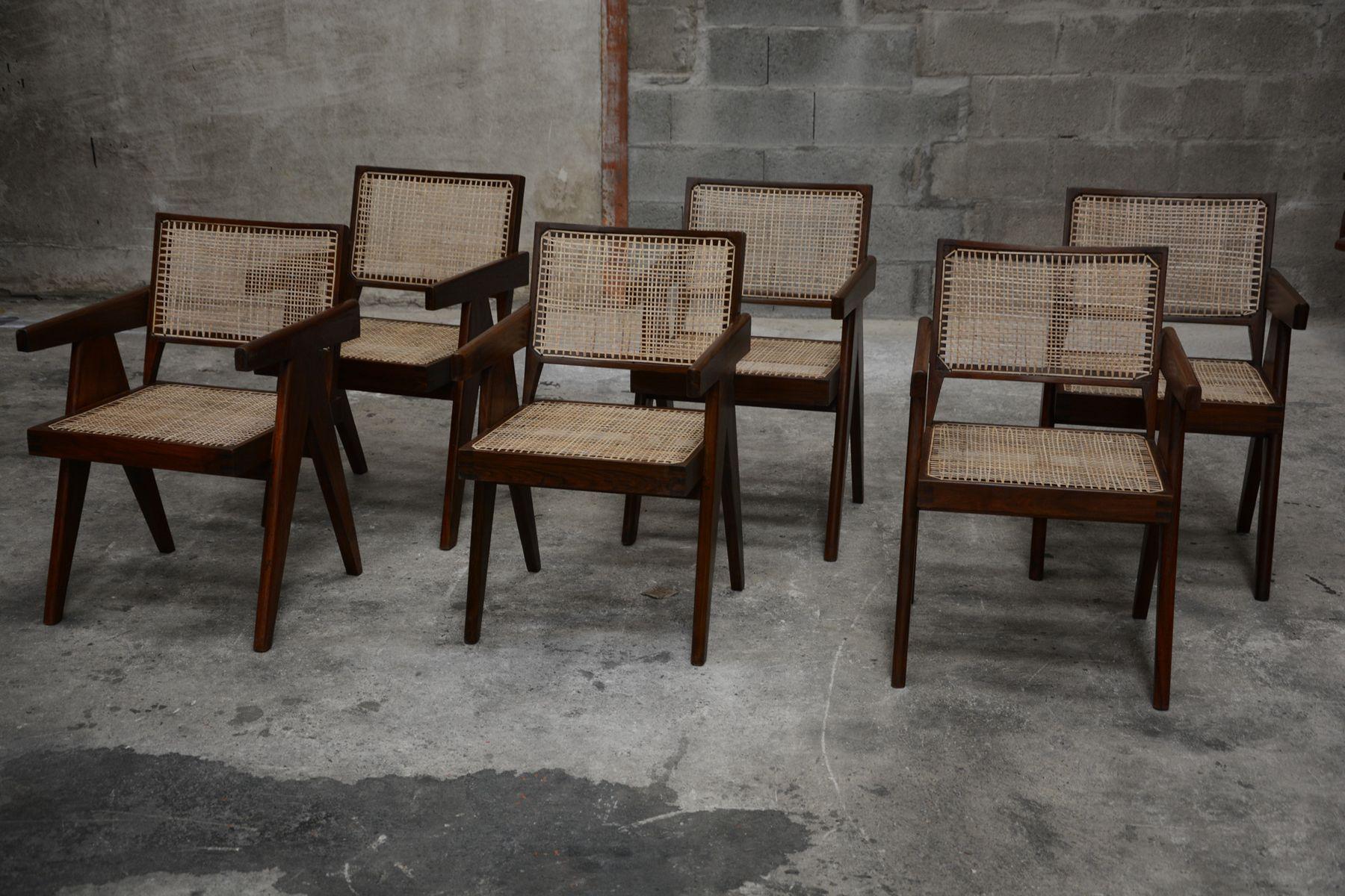 st hle von pierre jeanneret 1958 6er set bei pamono kaufen. Black Bedroom Furniture Sets. Home Design Ideas