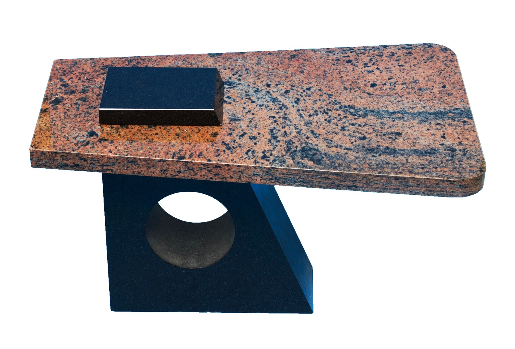French Variegated Pink And Black Marble Table, 1980s