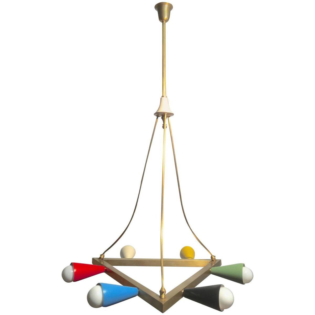 Mid century italian multicolored triangular brass chandelier mid century italian multicolored triangular brass chandelier 1950s arubaitofo Gallery