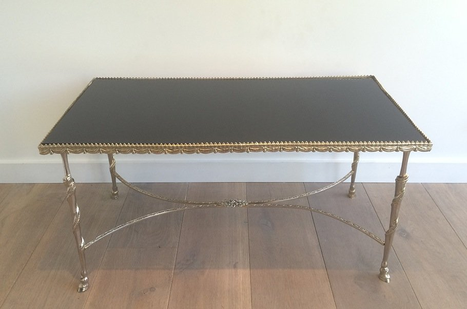 Vintage Coffee Table With Black Glass Top And Hoof Shaped Feet, 1940s