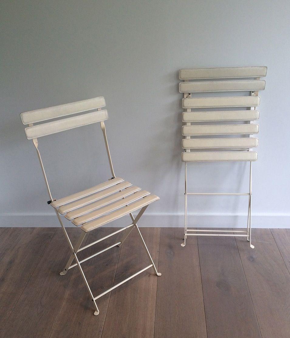 klappstuhl aus metall kunstleder von zanotta 1970er bei. Black Bedroom Furniture Sets. Home Design Ideas