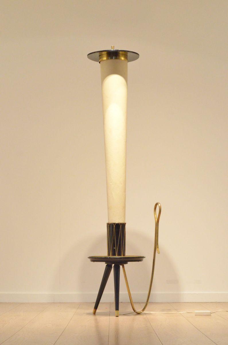 italienische mid century dreifu stehlampe aus pergament lackiertem holz bei pamono kaufen. Black Bedroom Furniture Sets. Home Design Ideas