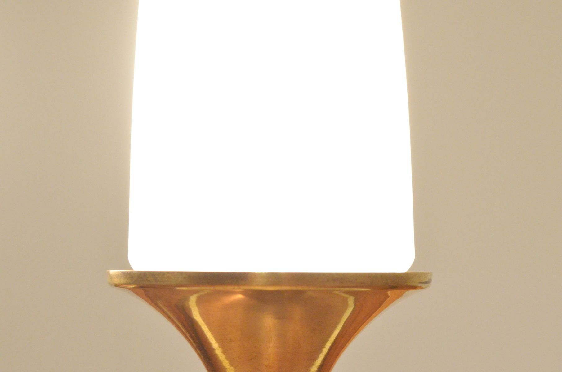 Belgian Tricolor Copper Amp Glass Bedside Table Lamps Set