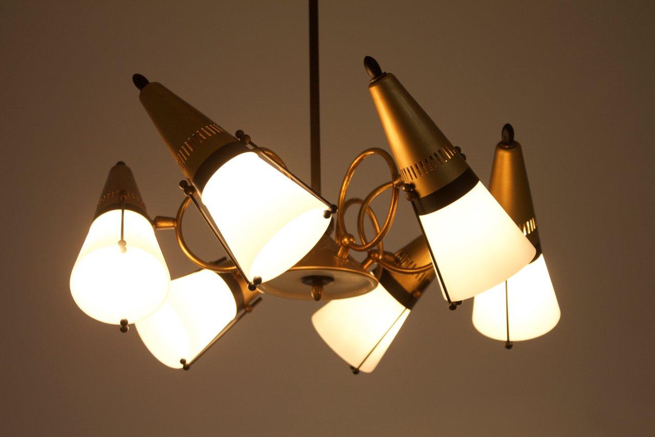 italienische h ngelampe aus glas messing mit verstellbaren lampen 1960er bei pamono kaufen. Black Bedroom Furniture Sets. Home Design Ideas