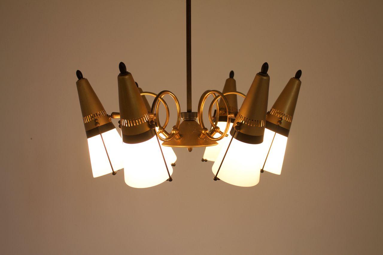 italienische h ngelampe aus glas messing mit. Black Bedroom Furniture Sets. Home Design Ideas
