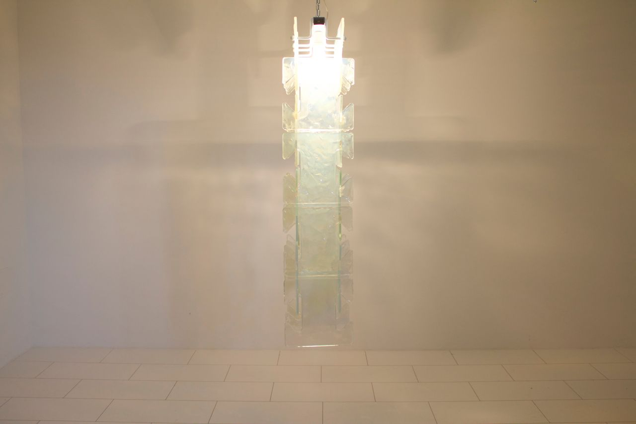 Large Italian Glass Chandelier From Leucos 1970s For Sale