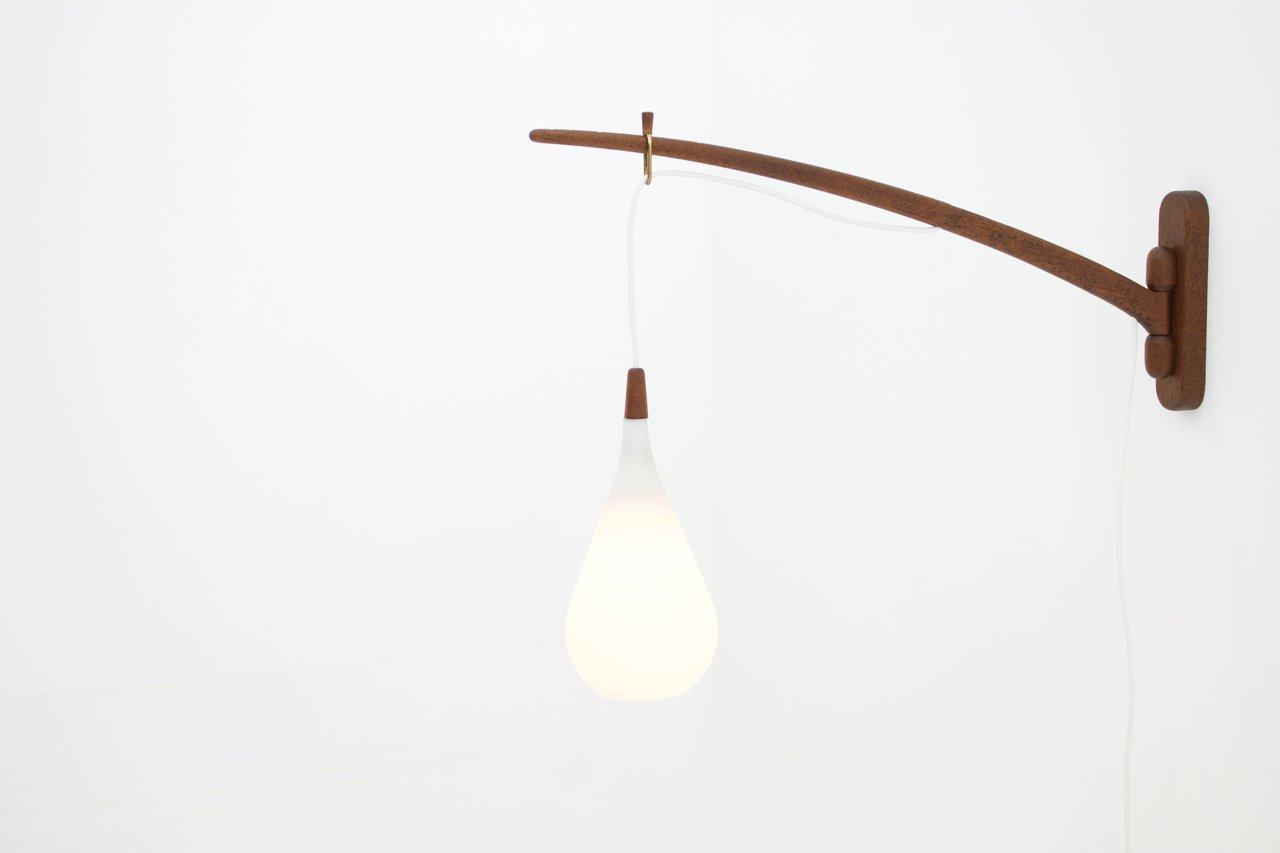 lampada da parete in teak e vetro di holmegaard danimarca. Black Bedroom Furniture Sets. Home Design Ideas