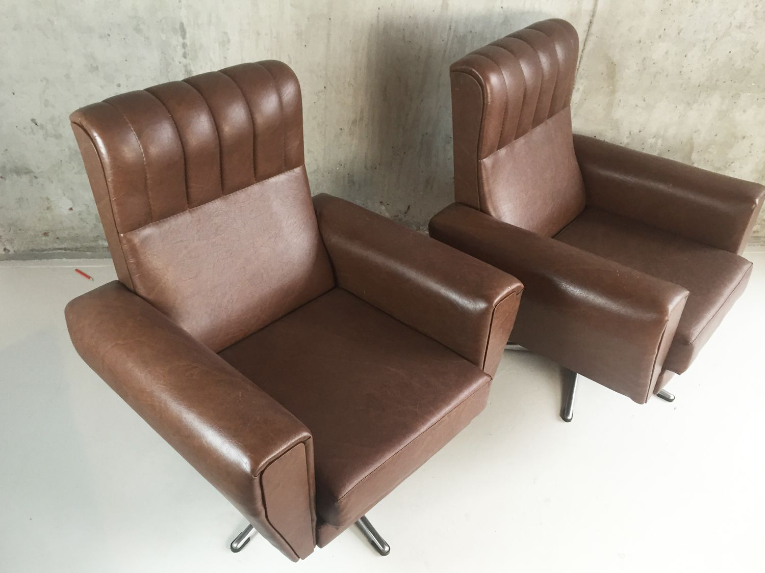 Belgian brown vinyl swivel armchairs 1970s set of 2 for for 2 armchairs for sale