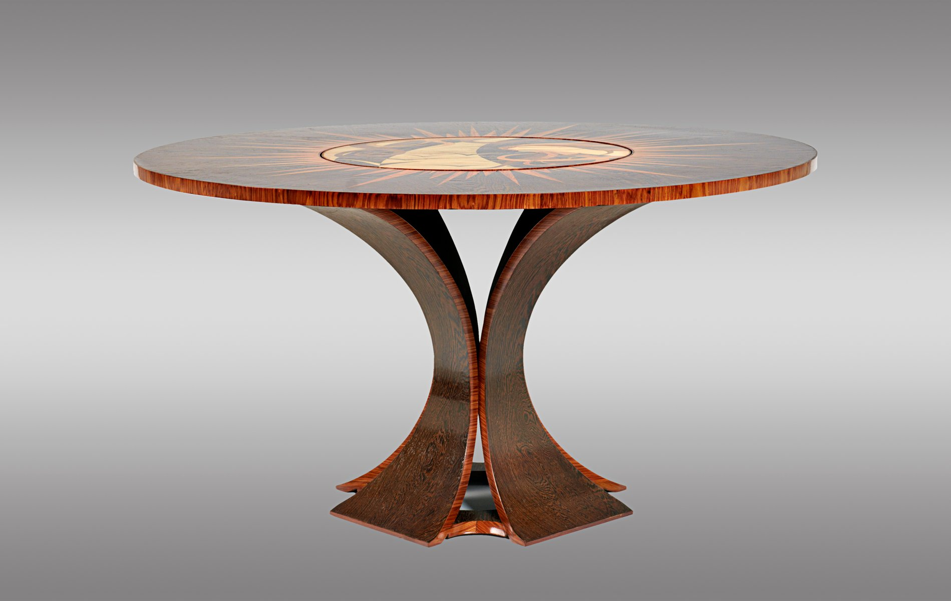 Palmenholz palisander tisch mit drehbarer mitte 1970 for Palisander tisch