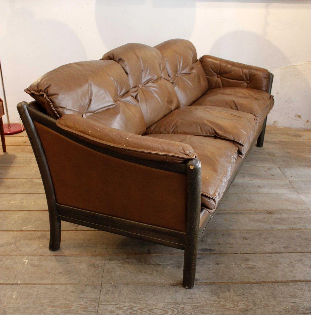 Canapé Vintage Scandinave : canap vintage scandinave en cuir brun en vente sur pamono ~ Teatrodelosmanantiales.com Idées de Décoration