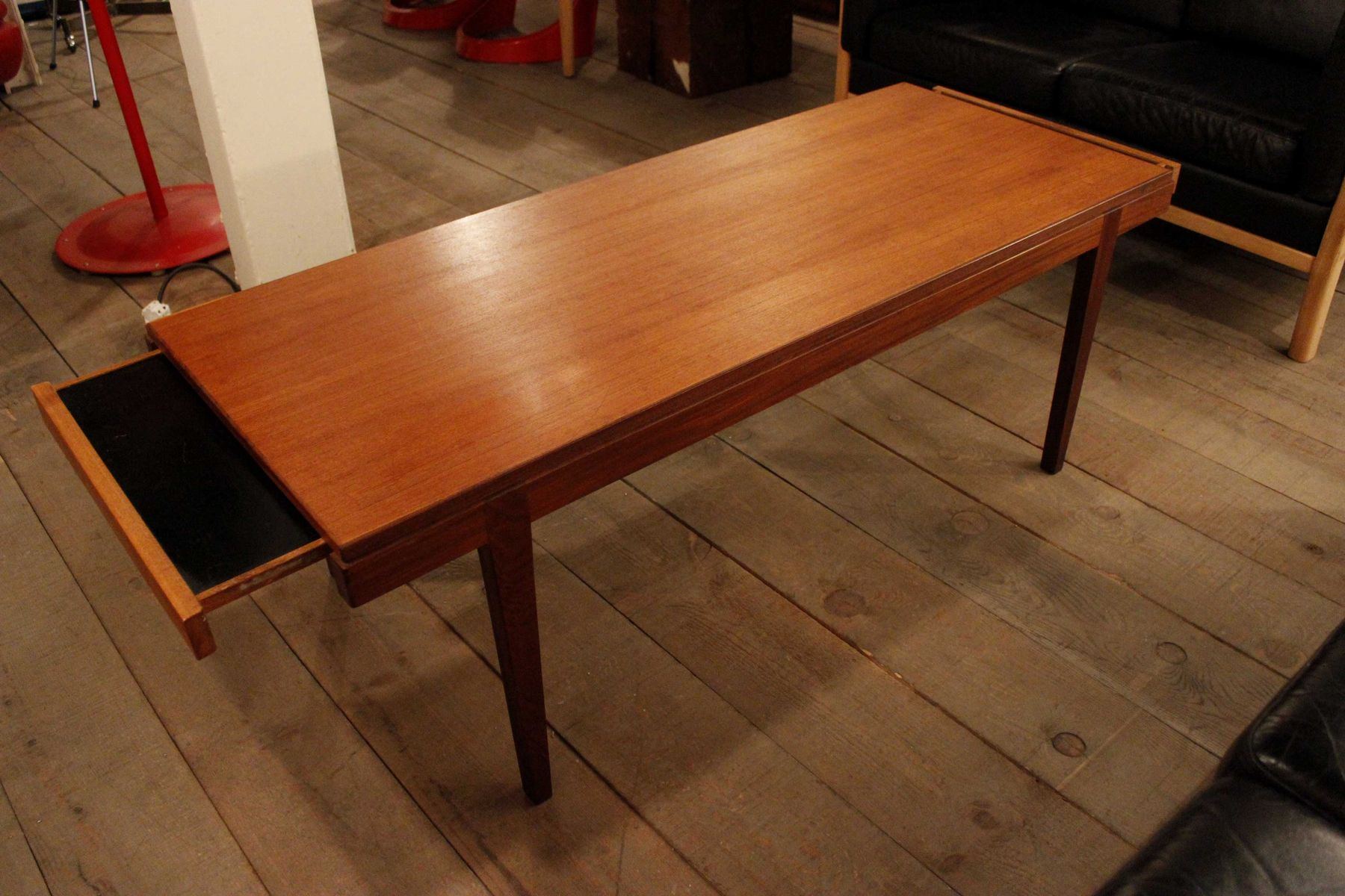 Mid Century Spanish Teak Coffee Table With Pull Out Trays For Sale At Pamono