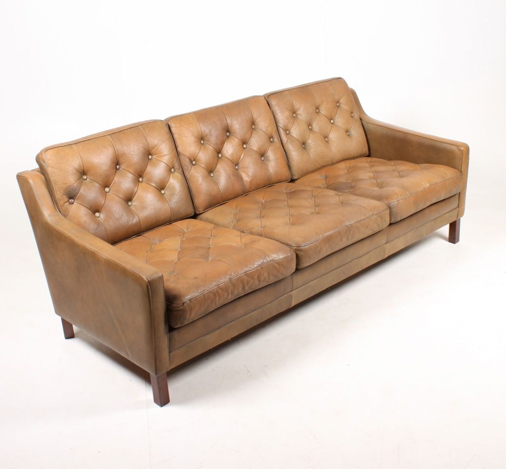 Danish three seater tan leather sofa 1970s for sale at pamono for Tan couches for sale