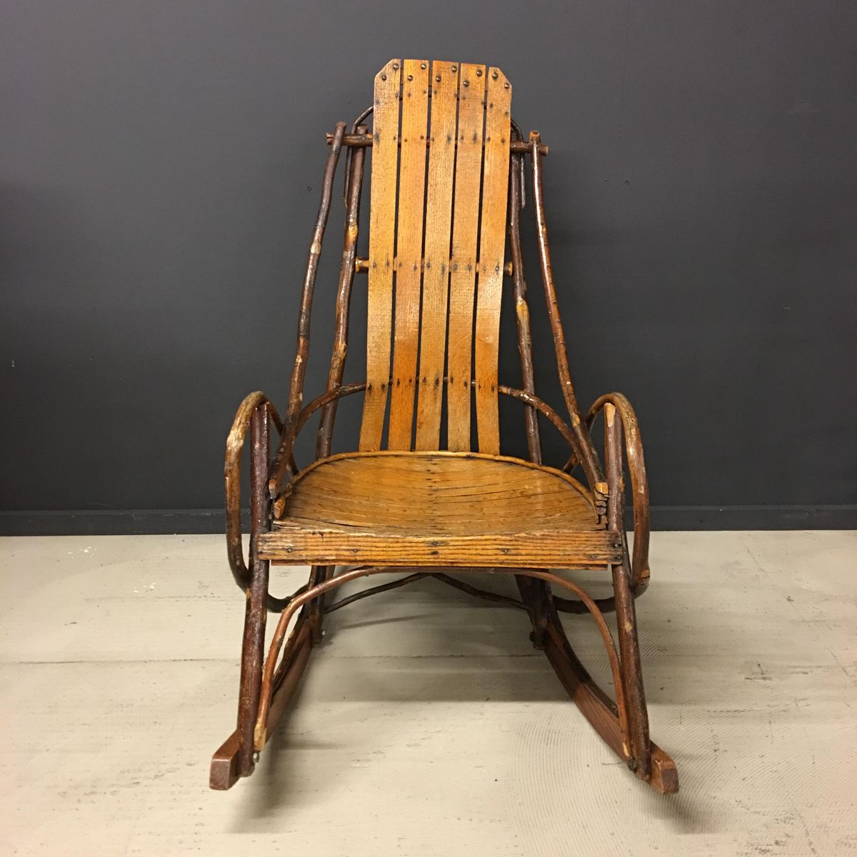 Wonderful image of Vintage American Adirondack Rocking Chair for sale at Pamono with #C37508 color and 1200x1200 pixels