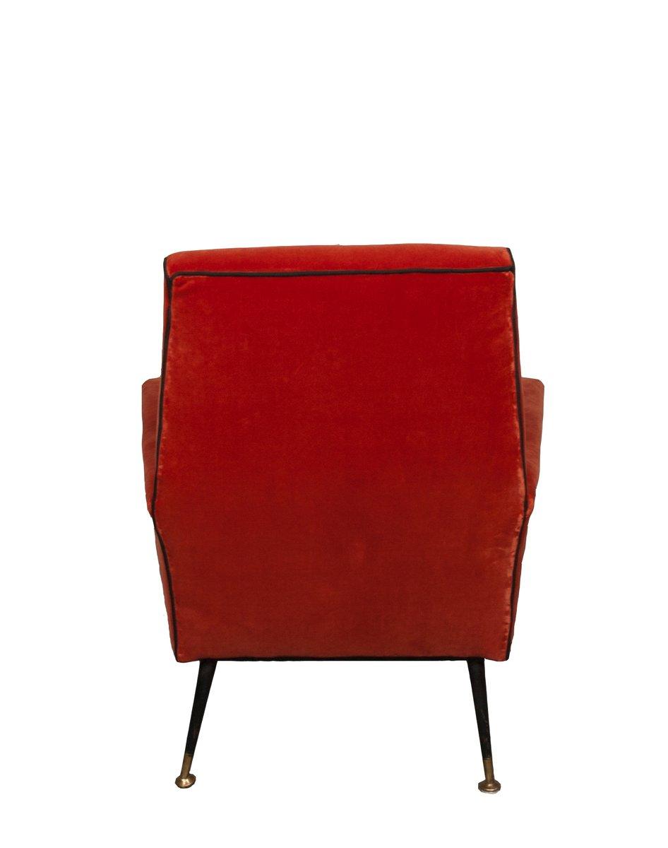 Italienische rote sessel aus samt 1940er 2er set bei for Sessel rot samt
