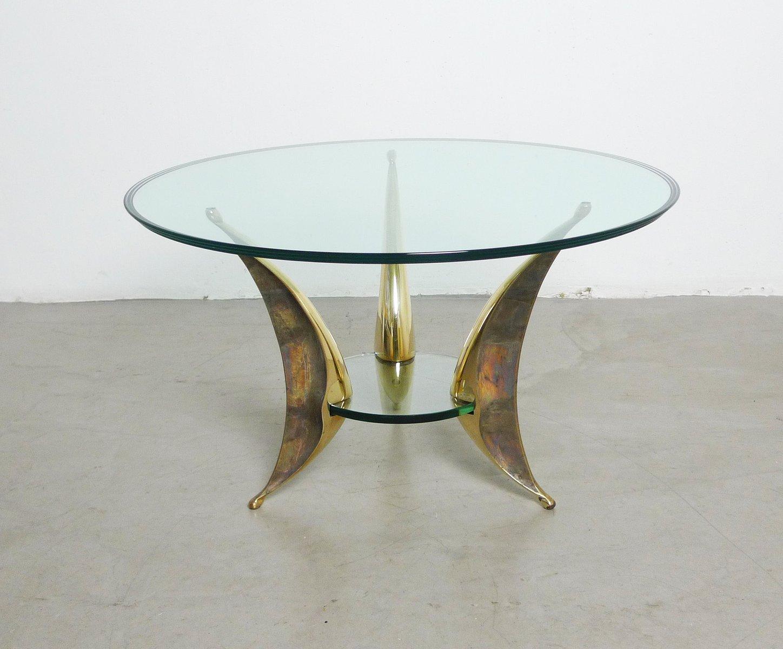 Italienischer skulpturaler couchtisch aus glas messing - Couchtisch messing glas ...