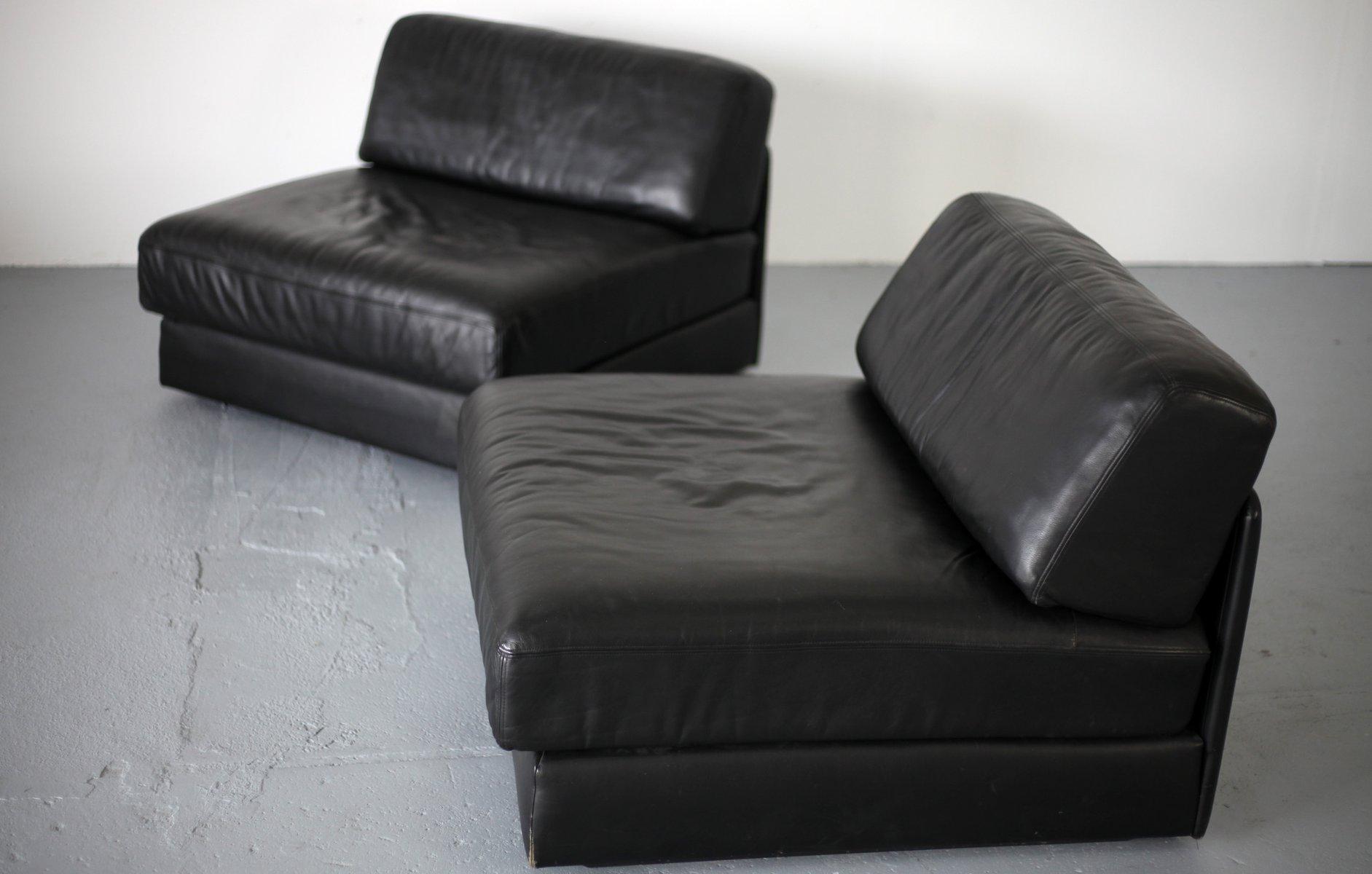 schwarzes vintage ds 76 leder schlafsofa von de sede bei. Black Bedroom Furniture Sets. Home Design Ideas