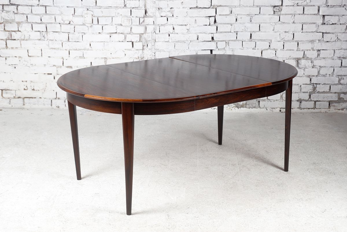 Danish round rosewood extendable dining table for sale at for Round extendable dining table