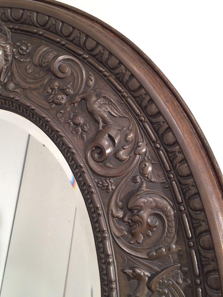 Antiker gro er ovaler spiegel aus gestanztem kupfer bei for Spiegel kupfer