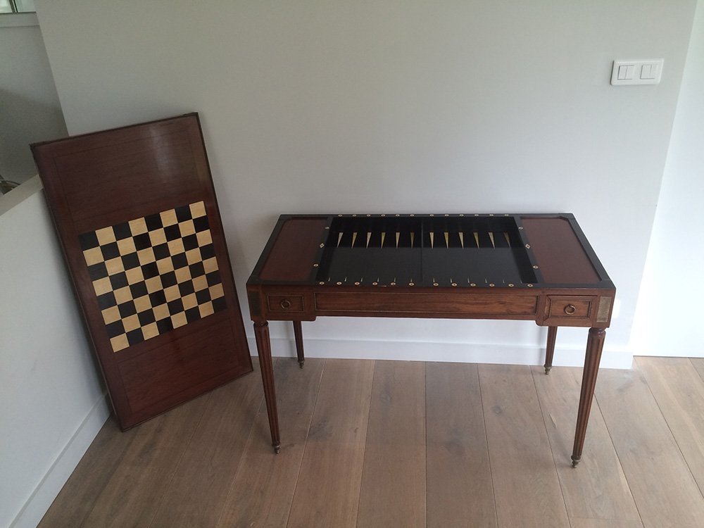 antiker louis xvi backgammon spieltisch bei pamono kaufen. Black Bedroom Furniture Sets. Home Design Ideas