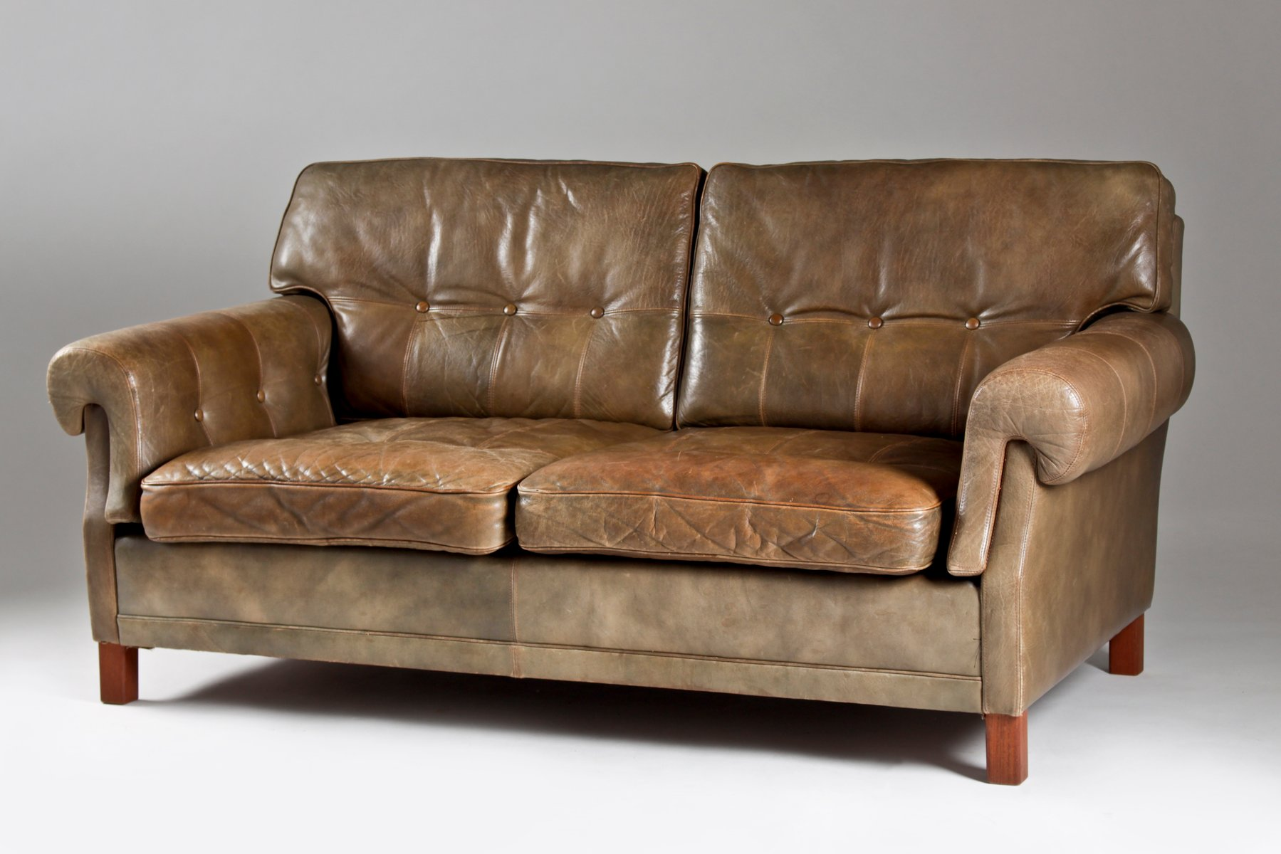 Swedish Teak & Leather Sofa from Ope Möbler 1960s for sale at Pamono