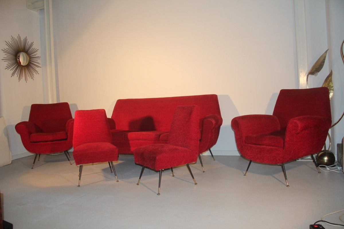 red velvet living room set by gigi radice 1950s for sale at pamono. Black Bedroom Furniture Sets. Home Design Ideas