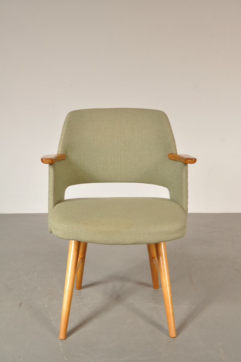 Dutch Birch And Green Fabric Dining Chair By Cees Braakman