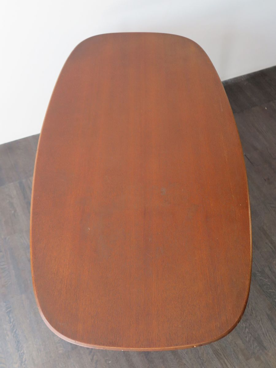 Mid century danish teak table with rounded corners 1950s for Table th rounded corners