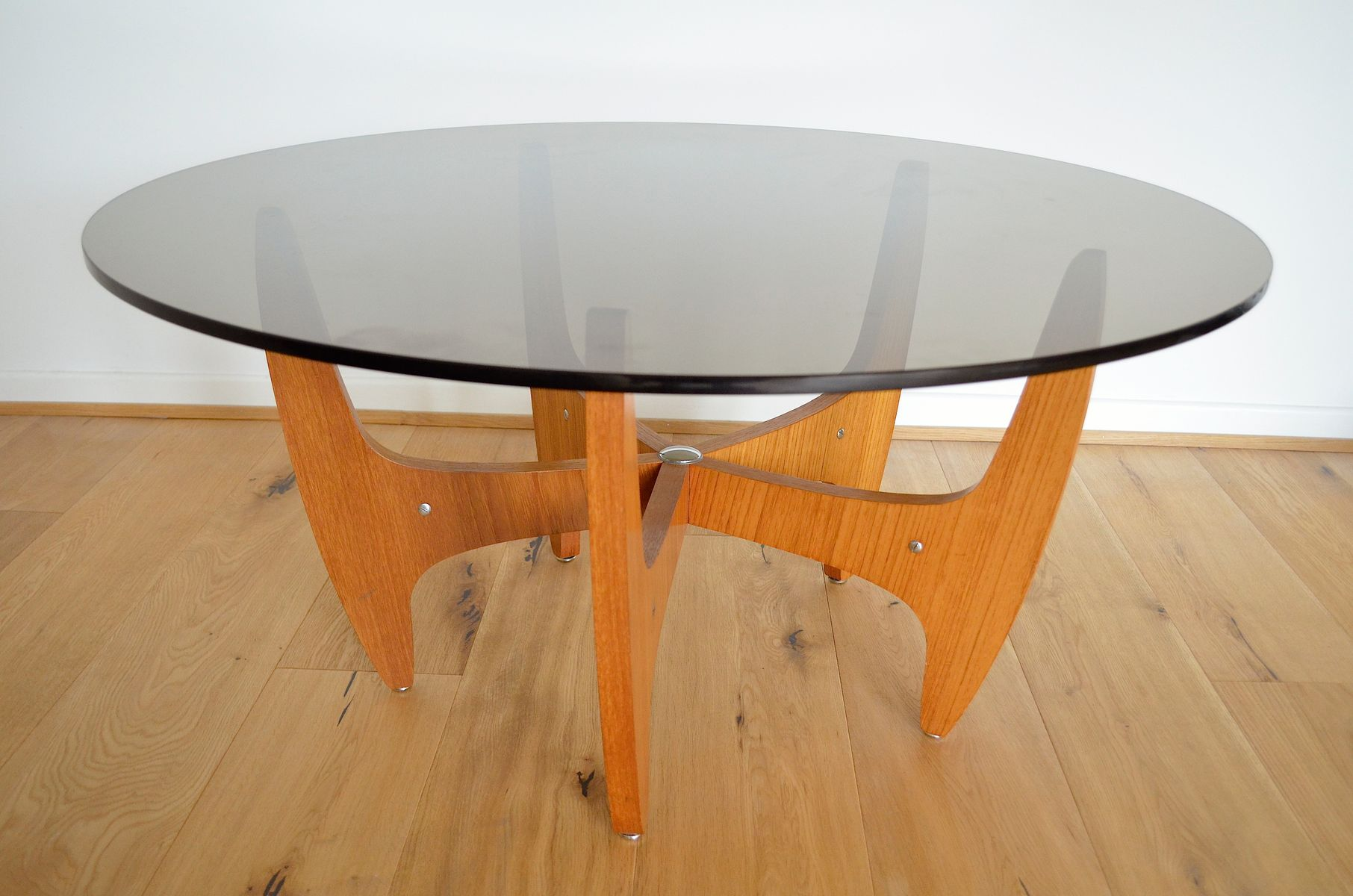 Mid Century German Smoked Glass Coffee Table 1960s for sale at Pamono