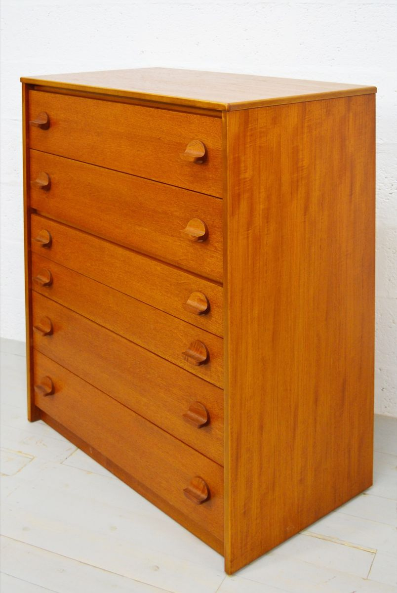 mid century teak tallboy chest of drawers from stag. Black Bedroom Furniture Sets. Home Design Ideas