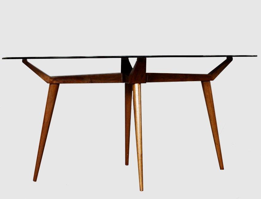 Tavolo ovale mid century in cristallo e legno di g l - Tavolo in cristallo ovale ...